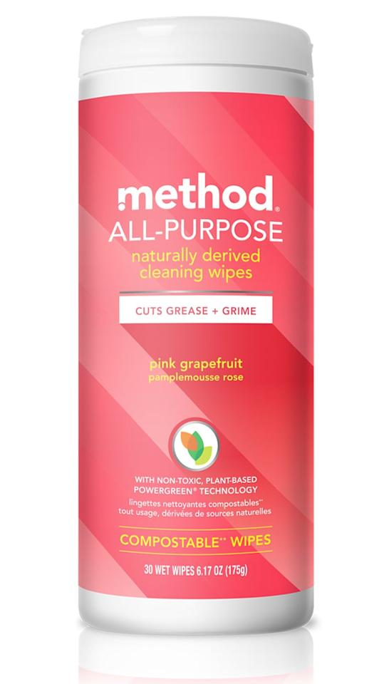 """<p>Made from corn and coconut, these naturally derived <a href=""""https://www.popsugar.com/buy/Method-All-Purpose-Compostable-Pink-Grapefruit-Cleaning-Wipes-437602?p_name=Method%20All-Purpose%20Compostable%20Pink%20Grapefruit%20Cleaning%20Wipes&retailer=target.com&pid=437602&price=6&evar1=casa%3Auk&evar9=46054351&evar98=https%3A%2F%2Fwww.popsugar.com%2Fhome%2Fphoto-gallery%2F46054351%2Fimage%2F46054577%2FMethod-All-Purpose-Compostable-Pink-Grapefruit-Cleaning-Wipes&list1=cleaning%2Ccleaning%20tips&prop13=api&pdata=1"""" rel=""""nofollow"""" data-shoppable-link=""""1"""" target=""""_blank"""" class=""""ga-track"""" data-ga-category=""""Related"""" data-ga-label=""""http://www.target.com/p/method-all-purpose-wipes-pink-grapefruit-70ct/-/A-53084840"""" data-ga-action=""""In-Line Links"""">Method All-Purpose Compostable Pink Grapefruit Cleaning Wipes</a> ($6) work great on counters, tile, stone, wood, and glass (and smell so good, you'll forget you're cleaning).</p>"""