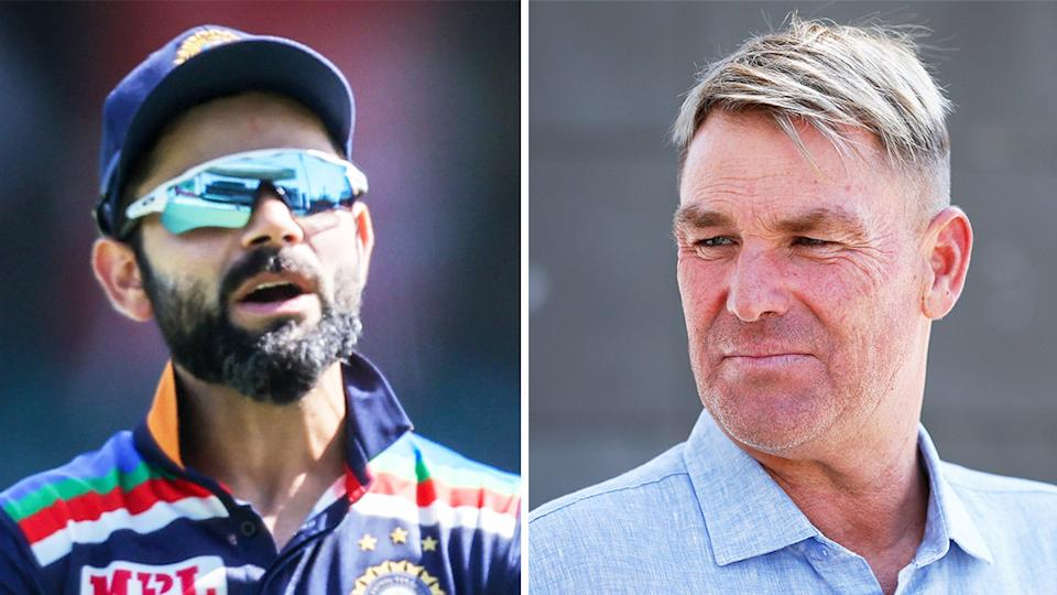Shane Warne (pictured right) at a press conference Indian captain Virat Kohli (pictured left) during the ODI against Australia.