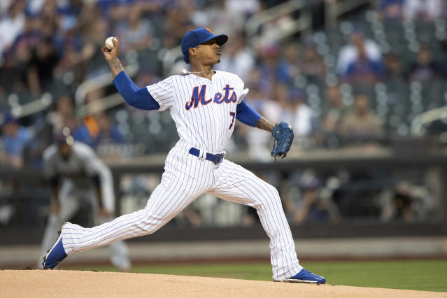 New York Mets starting pitcher Marcus Stroman delivers against the Cleveland Indians during the first inning of a baseball game Wednesday, Aug. 21, 2019, in New York. (AP Photo/Mary Altaffer)