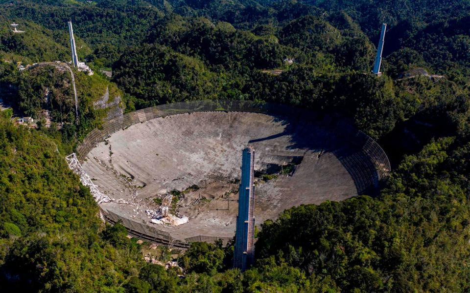 Another aerial view shows the damage at the Arecibo Observatory - AFP