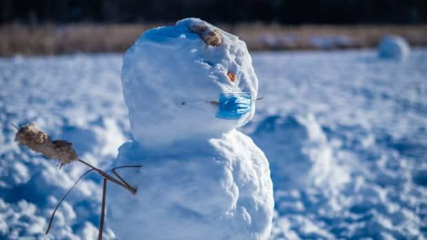 An Ottawa snowman made in January 2021. Ottawa's November, December, and January were two to three degrees warmer than normal, until the polar vortex hit last month. (Michel Aspirot/CBC - image credit)