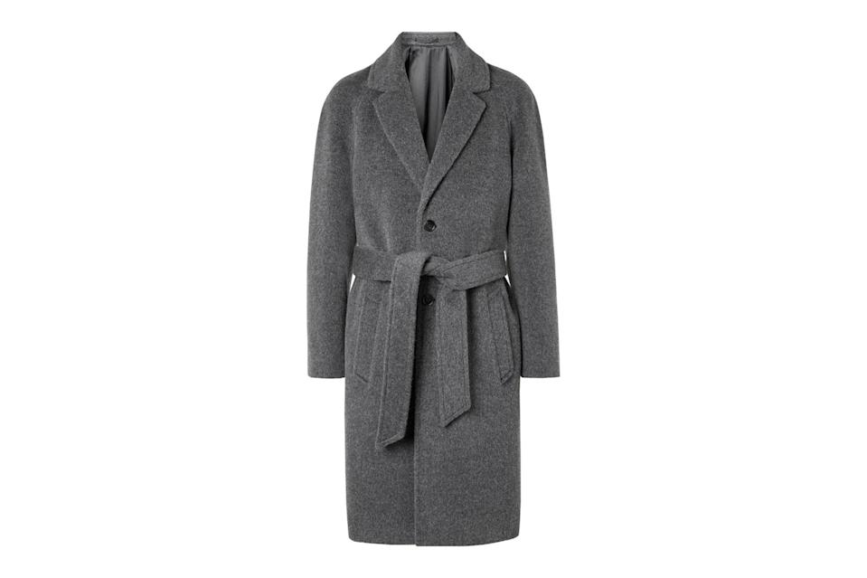 "$1675, Mr Porter. <a href=""https://www.mrporter.com/en-us/mens/product/mr-p/clothing/winter-coats/belted-brushed-virgin-wool-and-alpaca-blend-coat/26191867424987668"" rel=""nofollow noopener"" target=""_blank"" data-ylk=""slk:Get it now!"" class=""link rapid-noclick-resp"">Get it now!</a>"