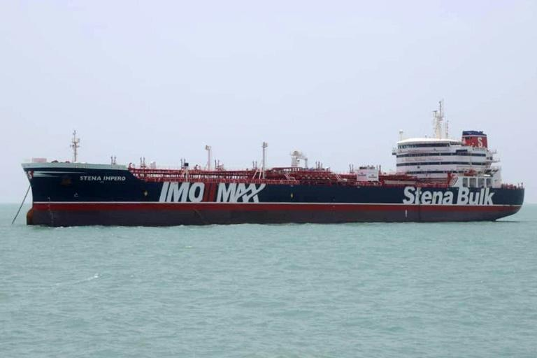 This handout picture released by Iran's Tasnim News Agency shows the British-flagged tanker Stena Impero anchored in Bandar Abbas in southern Iran