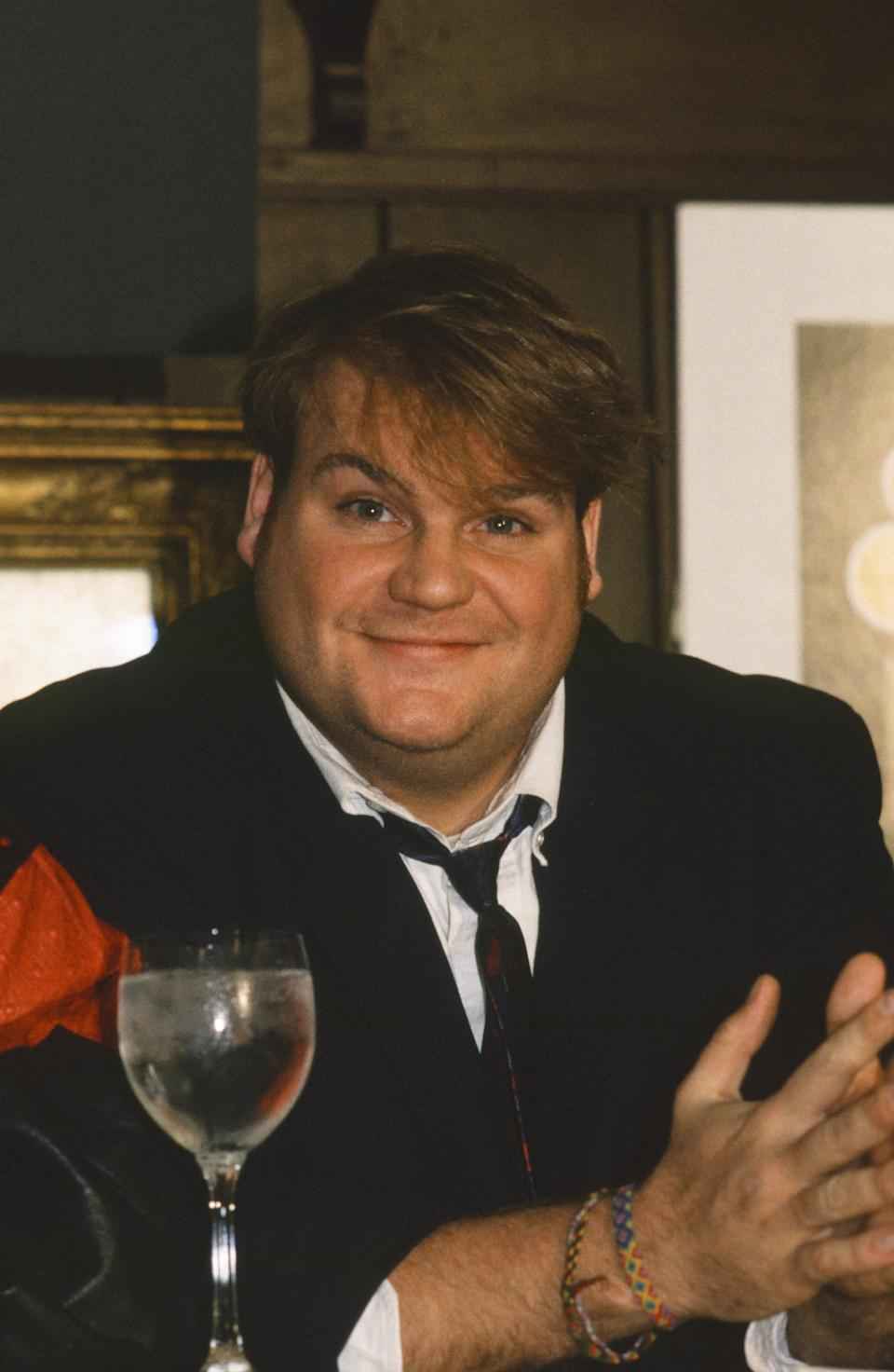 SATURDAY NIGHT LIVE -- Cast Press Conference -- Pictured: Chris Farley on September 18, 1990 -- Photo by: Alan Singer/NBC/NBCU Photo Bank
