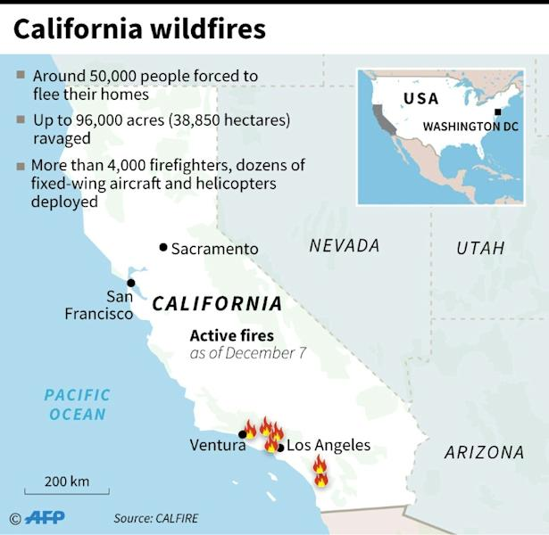 Map showing active fires in California
