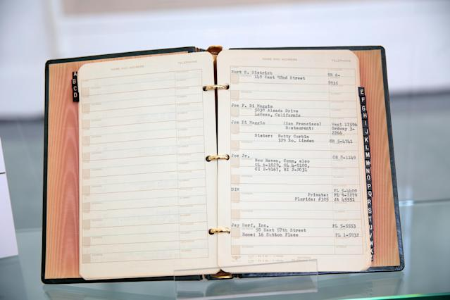 Marilyn Monroe's address book includes an entry for her former husband, baseball star Joe DiMaggio. (Photo: Brian To for the Paley Center for Media)
