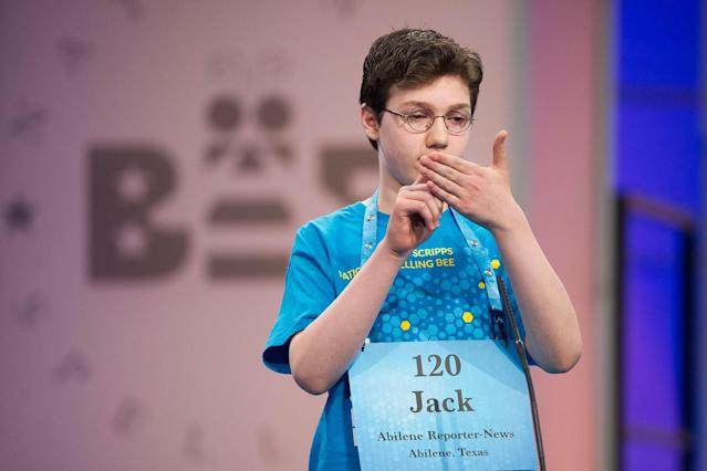 <p>Jack Miller, 13 of Abilene, Texas, correctly spells his word during the 90th Scripps National Spelling Bee in Oxon Hill, Md., Wednesday, May 31, 2017. (AP Photo/Cliff Owen) </p>