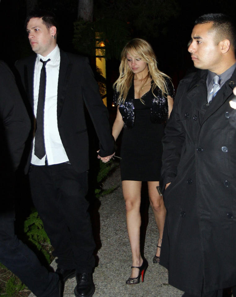 "Nicole Richie made her first major public appearance since giving birth to daughter Harlow Winter two weeks ago. The new mom stepped out in a mini-dress and pair of Christian Louboutin heels Saturday night. If anything, it looks like her boyfriend Joel Madden is the one retaining some extra weight! <a href=""http://www.x17online.com"" target=""new"">X17 Online</a> - January 26, 2008"