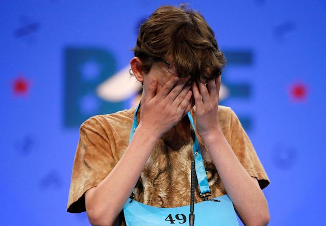 <p>Daniel Larsen, 13, of Bloomington, Indiana, struggles with a word during the 2017 Scripps National Spelling Bee at National Harbor in Oxon Hill, Maryland, U.S., May 31, 2017. (Joshua Roberts/Reuters) </p>
