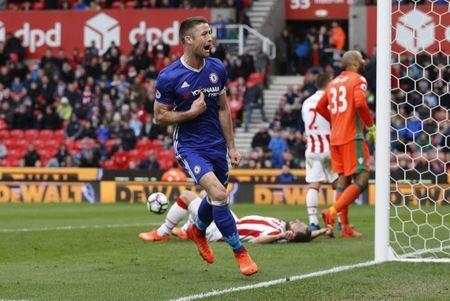 Chelsea's Gary Cahill celebrates scoring their second goal