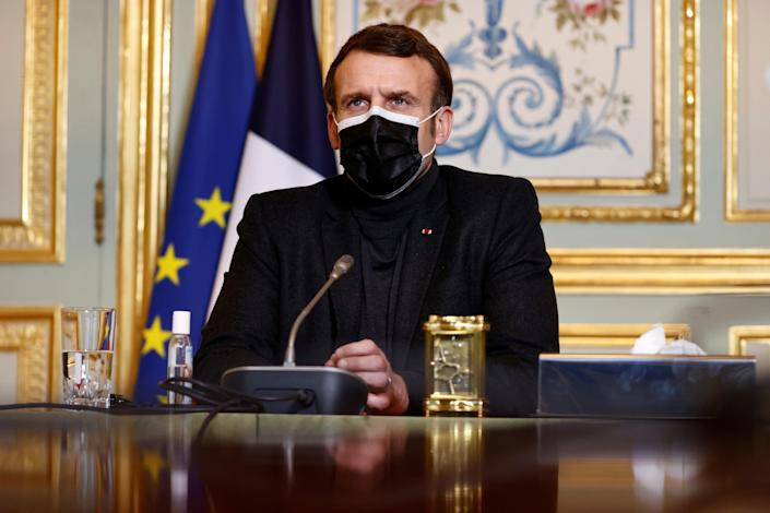 <p>File image: French president Emmanuel Macron earlier declared the Oxford-AstraZeneca vaccine 'quasi ineffective' for people over 65</p> (AP)
