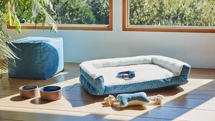 Adorable denim dog accessories featured in the collaborative new Levi's X Target home collection.