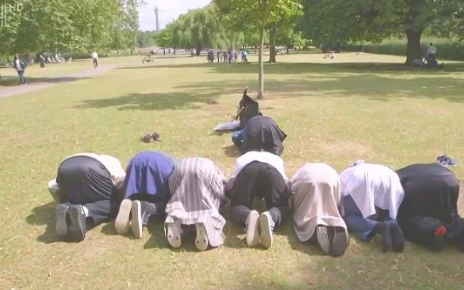 The London Bridge attacker was seen in the documentary unfurling an Isil flag in a park - Credit: C4