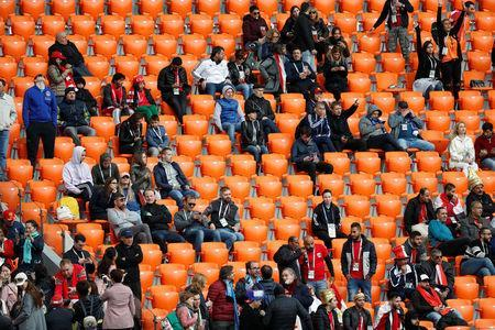 Soccer Football - World Cup - Group A - Egypt vs Uruguay - Ekaterinburg Arena, Yekaterinburg, Russia - June 15, 2018 General view of empty seats in the stand around Egypt fans REUTERS/Damir Sagolj