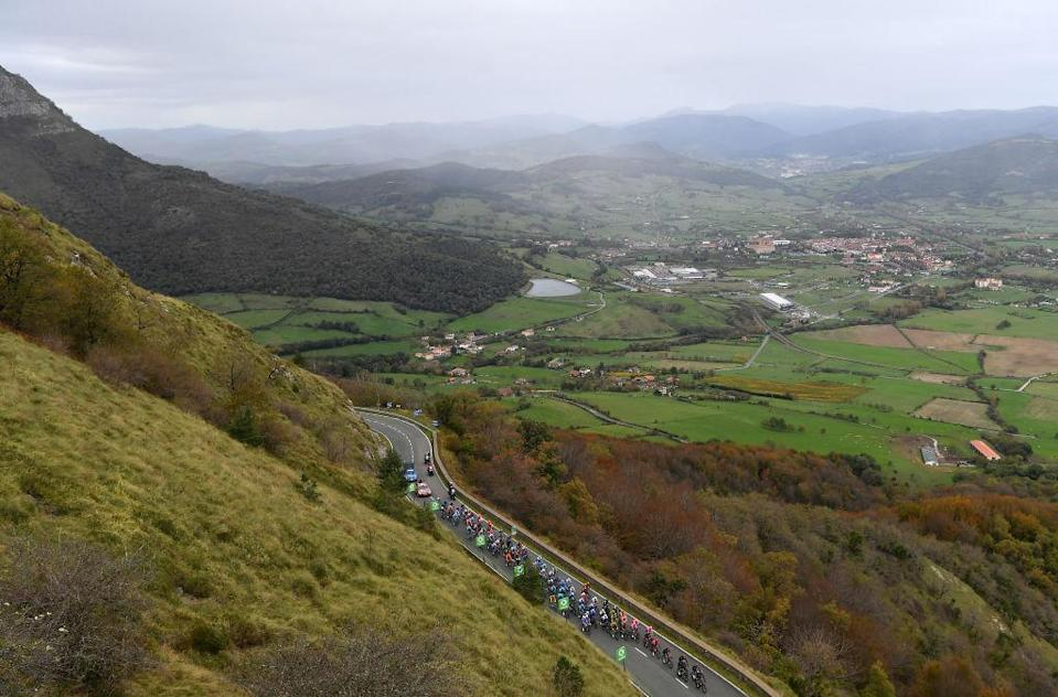 VILLANUEVA DE VALDEGOVIA SPAIN  OCTOBER 27 Puerto de Ordua 900m Peloton  Landscape  Mountains  during the 75th Tour of Spain 2020 Stage 7 a 1597km from VitoriaGasteiz to Villanueva de Valdegovia  lavuelta  LaVuelta20  La Vuelta  on October 27 2020 in Villanueva de Valdegovia Spain Photo by Justin SetterfieldGetty Images
