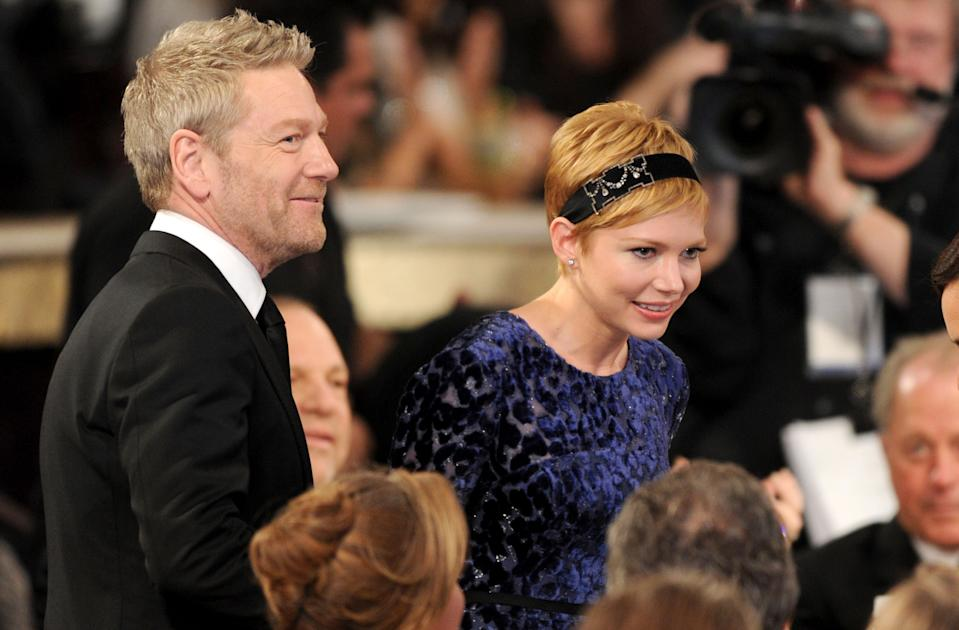 69th ANNUAL GOLDEN GLOBE AWARDS -- Pictured: (l-r) Kenneth Branagh and Michelle Williams during the 69th Annual Golden Globe Awards held at the Beverly Hilton Hotel on January 15, 2012 (Photo by Vince Bucci/NBCU Photo Bank/NBCUniversal via Getty Images via Getty Images)