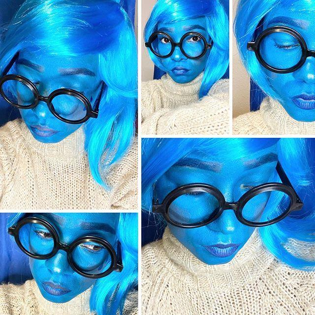 """<p>To take your Sadness costume to the next level, apply a coat of blue face paint.</p><p><a href=""""https://www.instagram.com/p/CGJxST_sU43/&hidecaption=true"""" rel=""""nofollow noopener"""" target=""""_blank"""" data-ylk=""""slk:See the original post on Instagram"""" class=""""link rapid-noclick-resp"""">See the original post on Instagram</a></p>"""