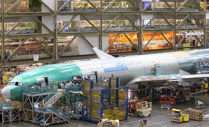 A Boeing 777 in KLM livery on the assembly line at the Boeing plant in Everett, Washington, in 2012