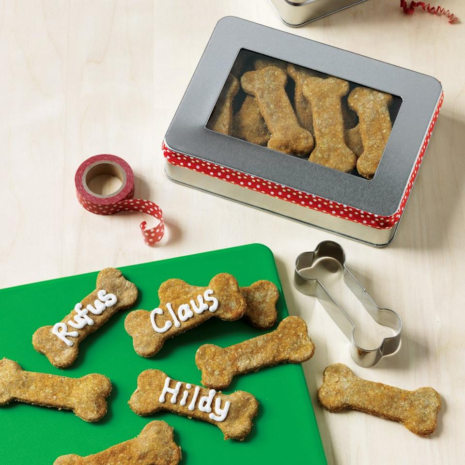 """<p>These 6-ingredient, giftable treats will delight all your furry friends!</p> <p><a href=""""https://www.myrecipes.com/recipe/homemade-dog-treats"""">Homemade Dog Treats Recipe</a></p>"""
