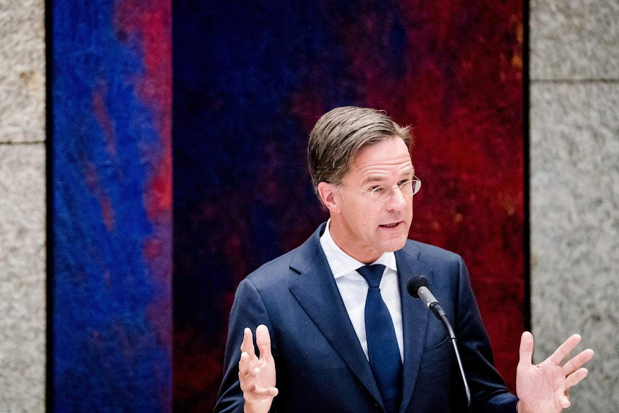 Outgoing Prime Minister Mark Rutte gestures as he speaks during a debate in the House of Representatives about the childcare benefits report and the resignation of the cabinet in The Hague on July7, 2021. - Netherlands OUT (Photo by Bart Maat / ANP / AFP) / Netherlands OUT (Photo by BART MAAT/ANP/AFP via Getty Images)
