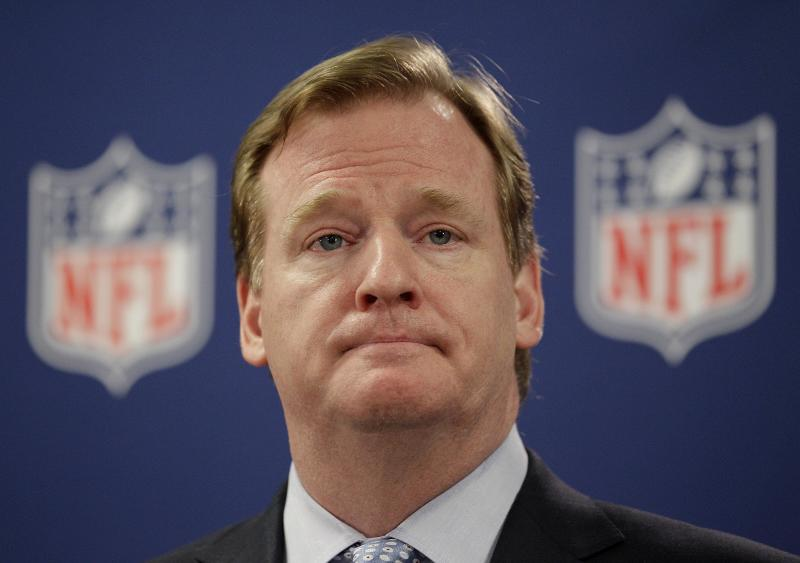 FILE - This May 22, 2012 file photo shows NFL Commissioner Roger Goodell during a new conference in Atlanta. The suspensions of four players in the NFL's bounty investigation have been lifted by a three-member appeals panel. The league reinstated those players a few minutes after Friday's, Sept. 7, 2012 ruling.  The panel said Goodell did not have jurisdiction to hear the players' appeals of their punishment for their roles in the New Orleans Saints bounty program that paid cash bonuses for hits that injured opponents. (AP Photo/David Goldman, File)