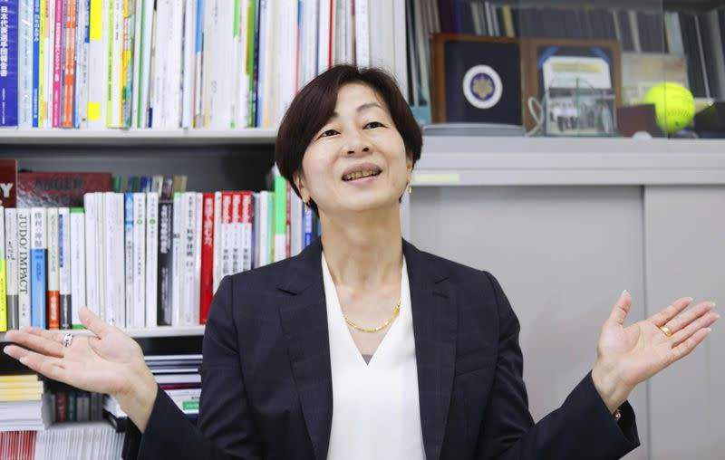 Kaori Yamaguchi, a member of the Japanese Olympic Committee's Executive Board, gives an interview in Tokyo