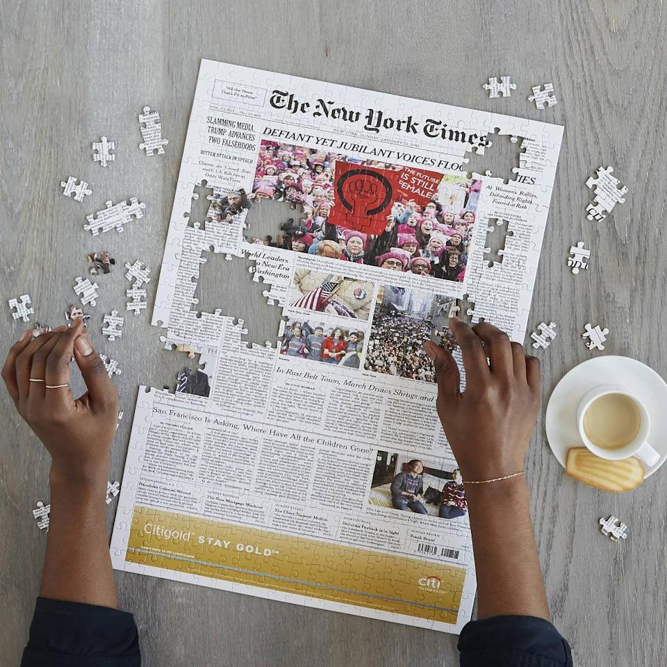 <p>You can print a meaning message on this <span>New York Times Custom Front Page Puzzle</span> ($50).</p>