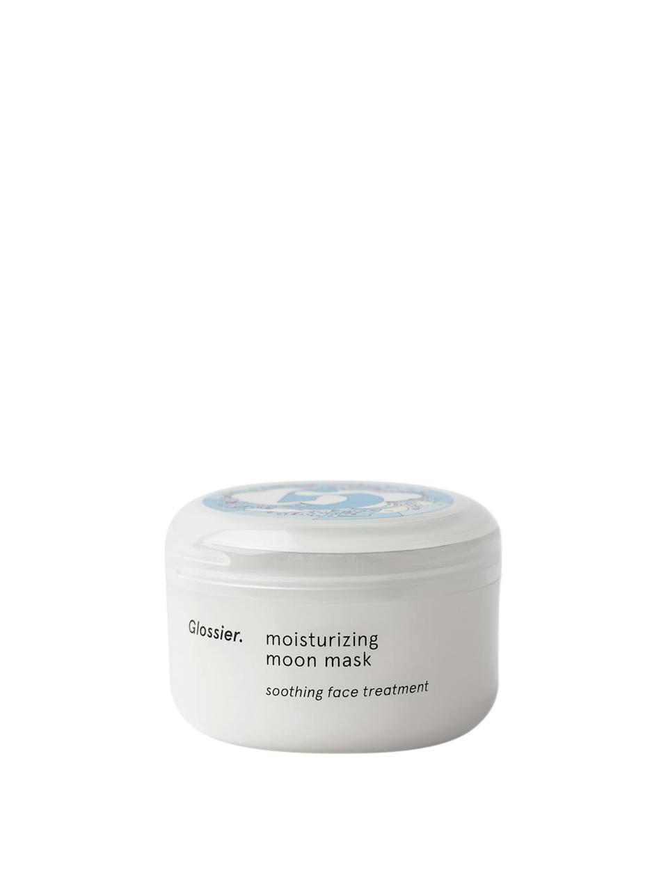 """<h3>Moisturizing Moon Mask<br></h3> <br>Like your thickest, most hydrating moisturizer on steroids, this creamy mask does what it says, soothing and quenching dry, dull skin. We suggest stashing it in the fridge once the weather warms up — its cooling, tall-drink-of-water effect is perfect for rehabbing skin post-sun exposure.<br><br><strong>Glossier</strong> Moisturizing Moon Mask, $, available at <a href=""""https://go.skimresources.com/?id=30283X879131&url=https%3A%2F%2Fglossier.sjv.io%2FA1YDN"""" rel=""""nofollow noopener"""" target=""""_blank"""" data-ylk=""""slk:Glossier"""" class=""""link rapid-noclick-resp"""">Glossier</a><br>"""