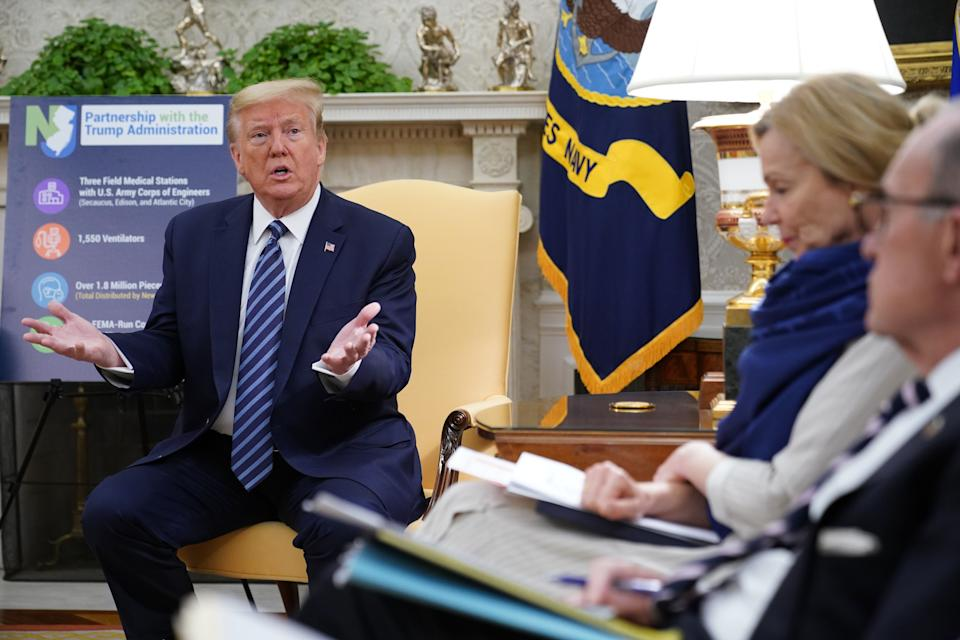 US President Donald Trump speaks as he meets with New Jersey Governor Phil Murphy in the Oval Office of the White House on April 30, 2020, in Washington, DC. (Photo by MANDEL NGAN / AFP) (Photo by MANDEL NGAN/AFP via Getty Images)