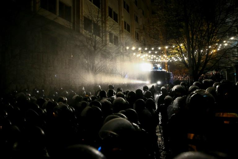Riot police used water cannon to disperse the crowds on Tuesday morning
