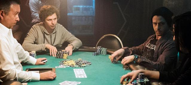 Michael Cera as Player X and Jeremy Strong as Dean Keith in <em>Molly's Game.</em>(Photo: Michael Gibson/STX Entertainment/Courtesy Everett Collection)