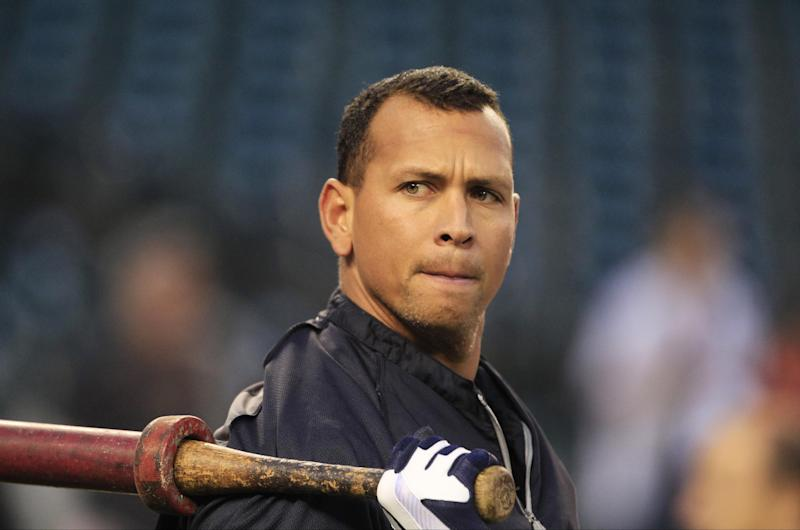 In this Wednesday, Oct. 17, 2012 photo, New York Yankees' Alex Rodriguez takes batting practice before Game 4 of the American League championship series against the Detroit Tigers, in Detroit. The New York Yankees said Monday, Dec. 3, 2012, Rodriguez will have surgery on his left hip and will miss the start of the season and possibly the entire first half. (AP Photo/Carlos Osorio)
