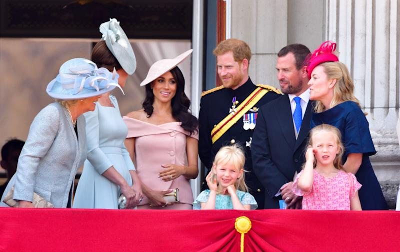 The royal family stand on the balcony of Buckingham Palace during the Trooping the Colour parade on June 9.