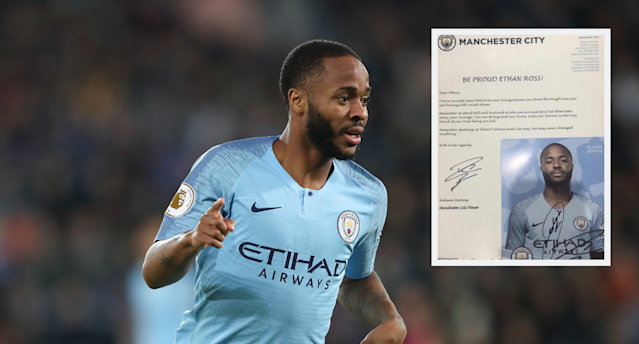 Raheem Sterling has written a letter to a young Manchester City fan after he fell victim to abuse
