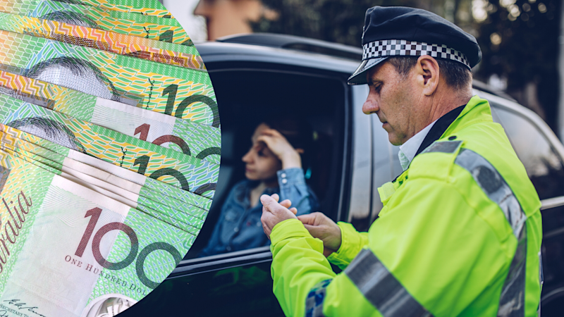 Pictured: Policeman checks driver's licence of woman he pulled over, Australian cash. Images: Getty
