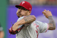 Philadelphia Phillies starting pitcher Vince Velasquez delivers during the first inning of the team's baseball game against the Pittsburgh Pirates in Pittsburgh, Friday, July 30, 2021. (AP Photo/Gene J. Puskar)
