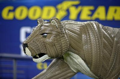 Goodyear unveils life-sized mascot tire art of the Penn State Nittany Lion for the 84th Goodyear Cotton Bowl Classic on Thursday, Dec. 26, 2019, at AT&T Stadium in Arlington, Texas. The Nittany Lion statue was constructed from more than 100 hand-painted Goodyear tires, 300 hidden screws and 3,000 crown staples. (Matt Strasen/AP Images for Goodyear)