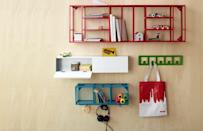 "<div class=""caption-credit""> Photo by: etsy.com</div><b>In: Hanging Shelves.</b> For those odds and ends (knick knacks not plates) there's space-saving hooks and colorful shelves that double as decoration and cater to any oddly shaped apartment out there."