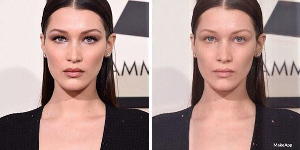 <p>And younger sister Bella Hadid looks just as fierce without her signature winged liner and smokey eye. </p>