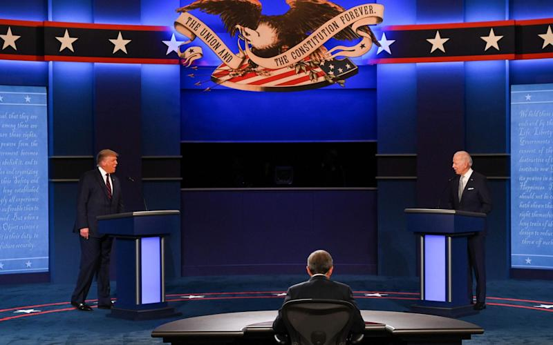 The candidates greeted each other politely - GETTY IMAGES