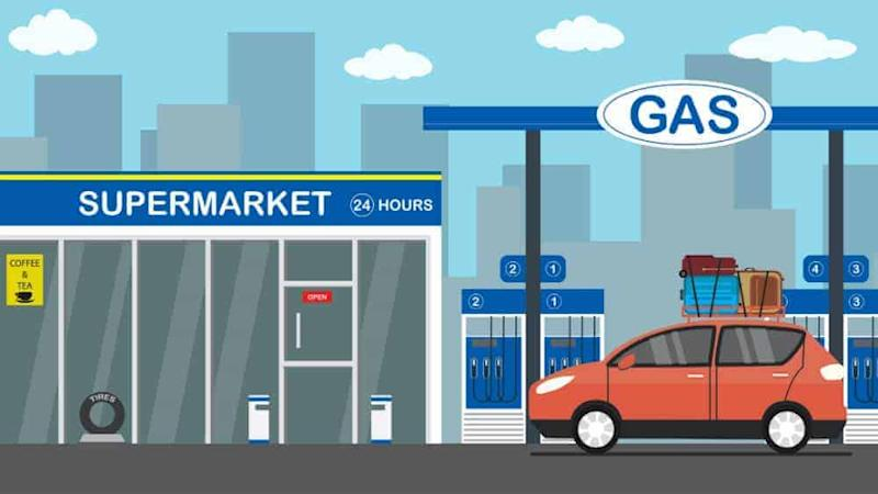 gas station, car, and 24-hour store