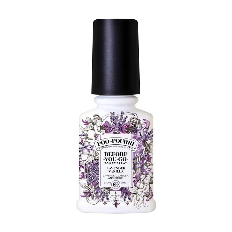 """<p><strong>Poo-Pourri</strong></p><p>amazon.com</p><p><strong>$8.96</strong></p><p><a href=""""https://www.amazon.com/dp/B0108Y8EHI?tag=syn-yahoo-20&ascsubtag=%5Bartid%7C2089.g.3486%5Bsrc%7Cyahoo-us"""" rel=""""nofollow noopener"""" target=""""_blank"""" data-ylk=""""slk:Shop Now"""" class=""""link rapid-noclick-resp"""">Shop Now</a></p><p>Stop bathroom odors before you even go with this unique spray. Just spritz a little in the toilet bowl and no one will know! Also, it's made with a non-toxic formula and totally safe to use.</p>"""