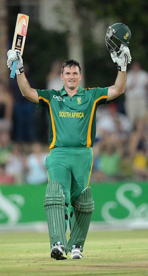 POTCHEFSTROOM, SOUTH AFRICA - JANUARY 25:  Graeme Smith of South Africa celebrates his 100 runs during the 3rd One Day International match between South Africa and New Zealand at Senwes Park on January 25, 2013 in Potchefstroom, South Africa.  (Photo by Lee Warren/Gallo Images/Getty Images)