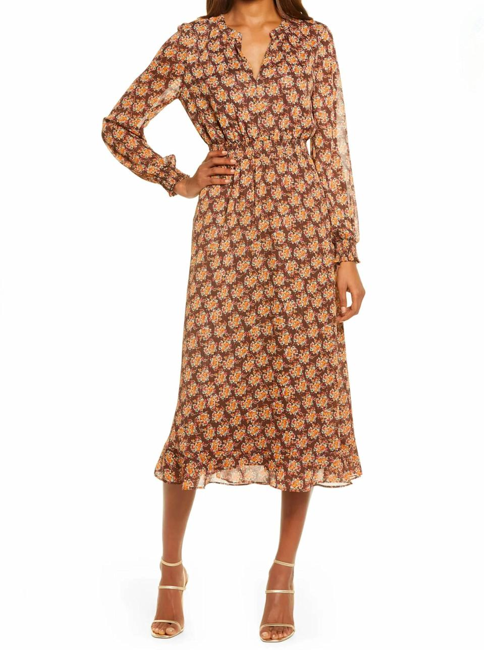 """Timeless, chic, and under $100. What's not to like? $99, Nordstrom. <a href=""""https://www.nordstrom.com/s/charles-henry-floral-long-sleeve-chiffon-midi-dress/5786322"""" rel=""""nofollow noopener"""" target=""""_blank"""" data-ylk=""""slk:Get it now!"""" class=""""link rapid-noclick-resp"""">Get it now!</a>"""