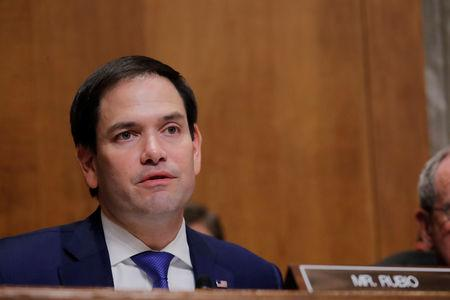 """FILE PHOTO - U.S. Sen. Marco Rubio (R-FL) asks a question of U.S. Secretary of State Mike Pompeo during Pompeo's appearance before a Senate Foreign Relations Committee hearing titled """"An Update on American Diplomacy to Advance Our National Security Strategy"""" on Capitol Hill in Washington, U.S., July 25, 2018.  REUTERS/Lucas Jackson"""