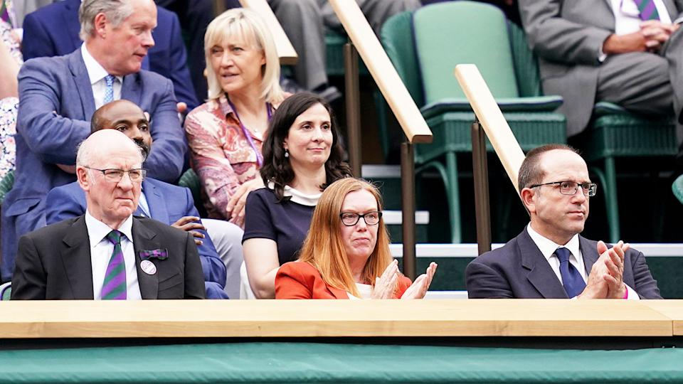 Dame Sarah Gilbert, pictured here in the Royal Box at Centre Court on day one of Wimbledon.