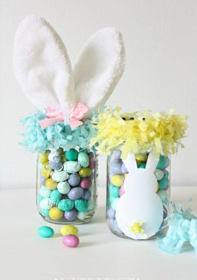 """<p>If you're short on space, fill mason jars with Easter candy and top with a cheeky pair of bunny ears. </p><p><em><a href=""""http://www.nestofposies-blog.com/2014/03/mason-jar-easter-basket/"""" rel=""""nofollow noopener"""" target=""""_blank"""" data-ylk=""""slk:Get the tutorial from Nest of Posies »"""" class=""""link rapid-noclick-resp"""">Get the tutorial from Nest of Posies »</a></em> </p>"""