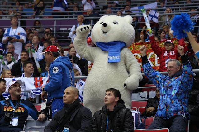 SOCHI, RUSSIA - FEBRUARY 22: The Polar Bear mascot cheers in the crowd during the Men's Ice Hockey Bronze Medal Game between Finland and the United States on Day 15 of the 2014 Sochi Winter Olympics at Bolshoy Ice Dome on February 22, 2014 in Sochi, Russia. (Photo by Bruce Bennett/Getty Images)