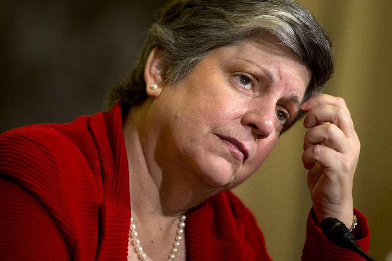 Homeland Security Secretary Janet Napolitano testifies on Capitol Hill in Washington, Thursday, April 18, 2013, before the House Homeland Security Committee. Napolitano says the FBI wants to speak with two men seen in at least one video from the Boston Marathon, but she says she isn't calling them suspects.  (AP Photo/Evan Vucci)