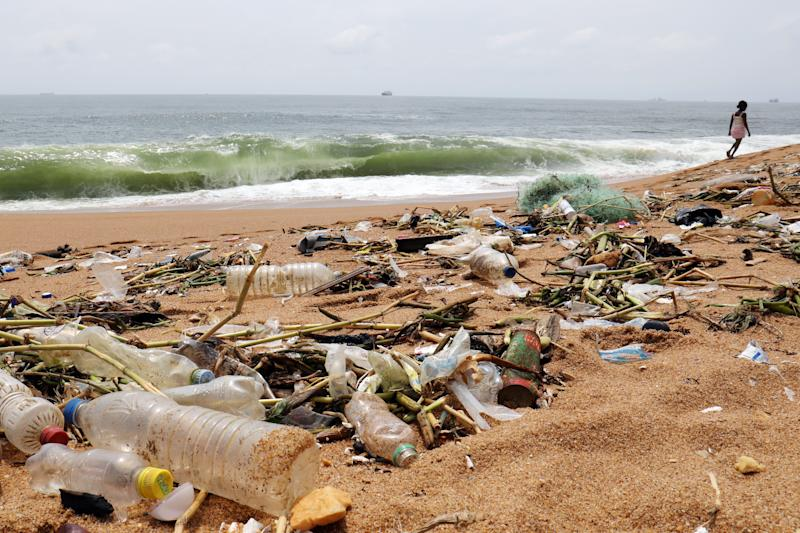 Plastic items and other debris are seen on Vridi beach in Abidjan, Ivory Coast. (Photo: Thierry Gouegnon/Reuters)